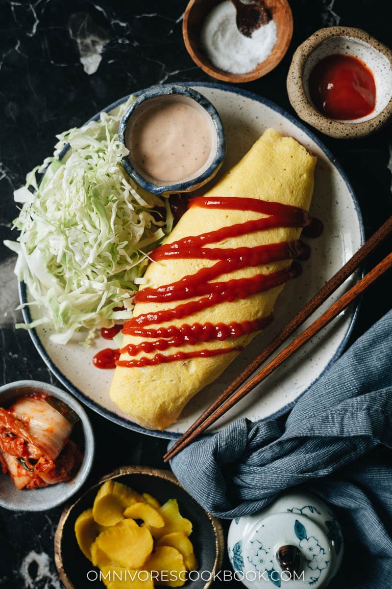 Kimchi omurice drizzled with ketchup
