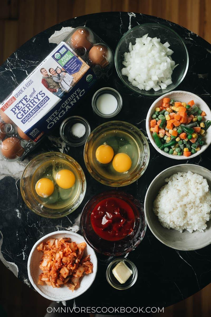 Mise-en-place for kimchi fried rice omelet