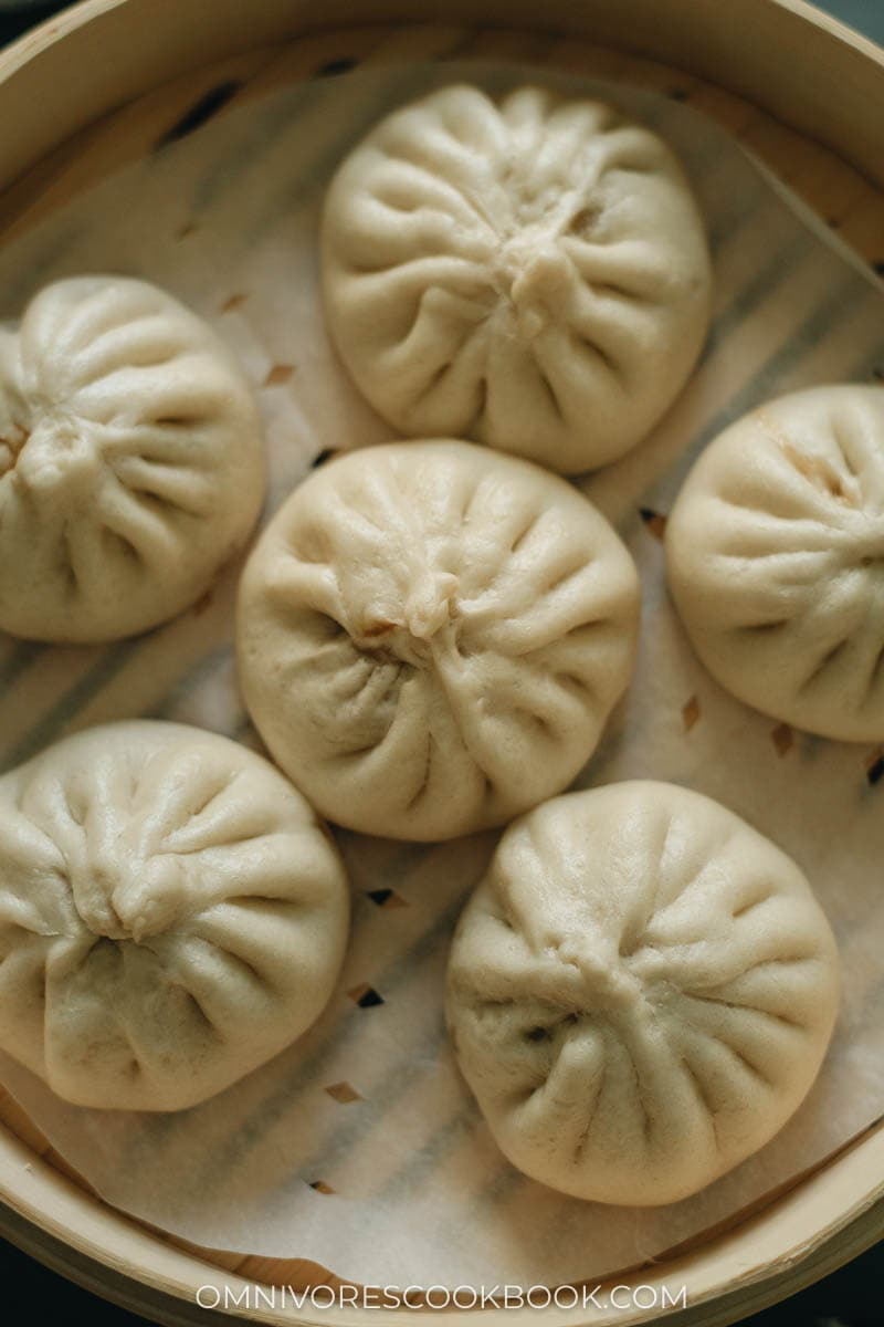 Juicy, fluffy Chinese steamed pork buns with chive