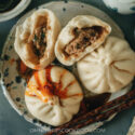 Chinese bao buns with chive and homemade chili oil