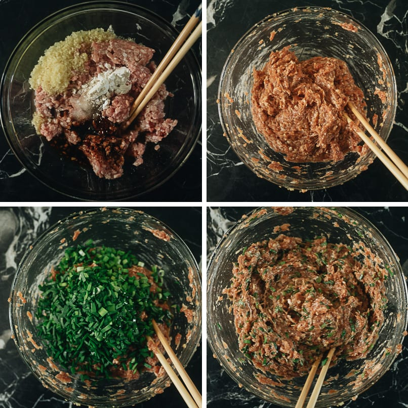 How to mix pork and chive filling for steamed buns