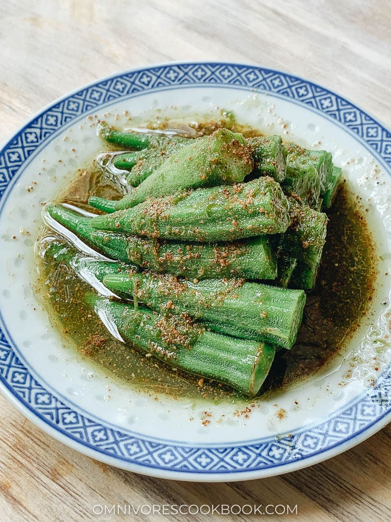 Chinese okra with Sichuan sauce