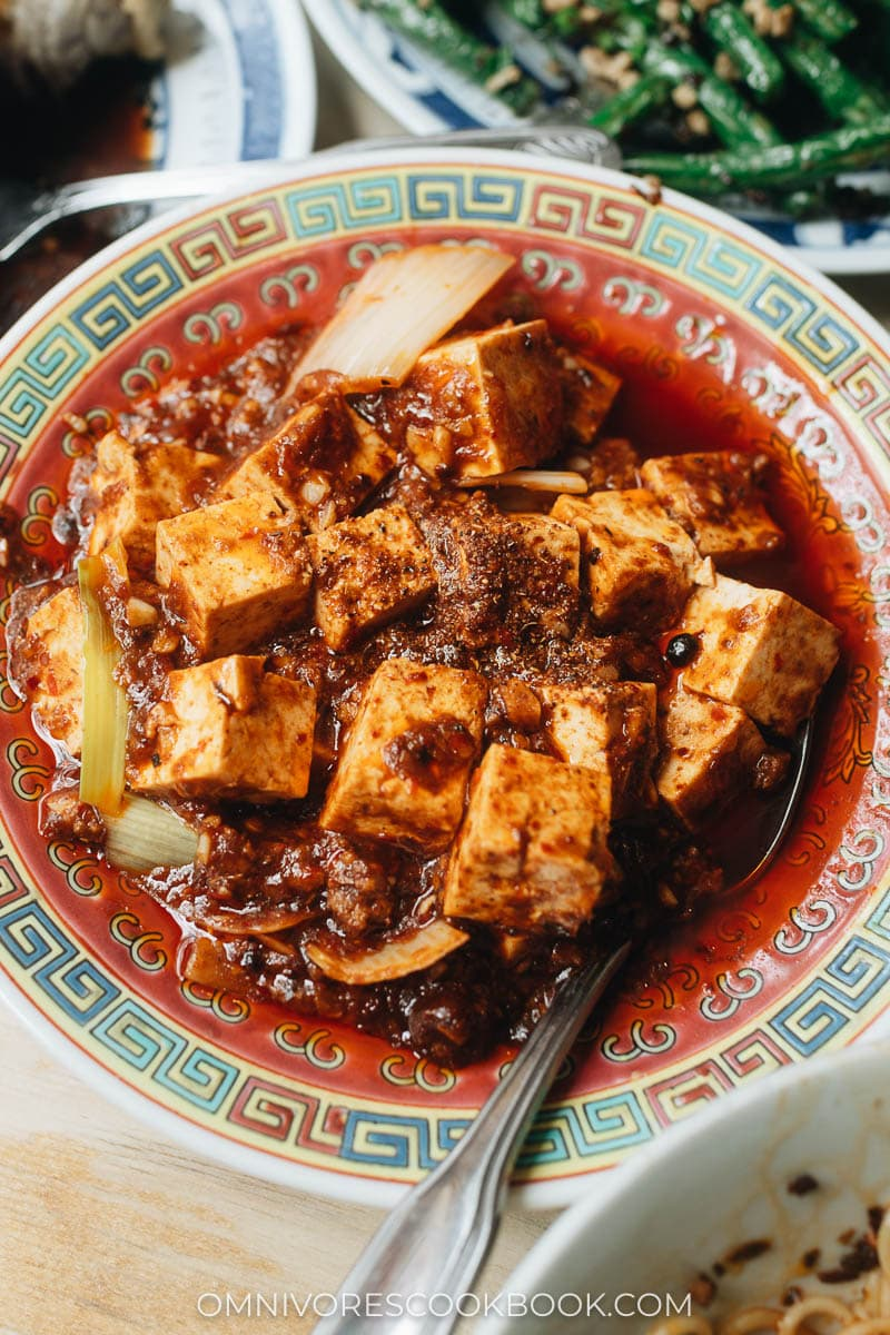 Traditional Sichuan mapo tofu in a bowl at Birds of a Feather