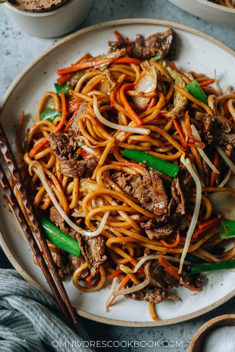 Authentic takeout-style beef lo mein with green onion