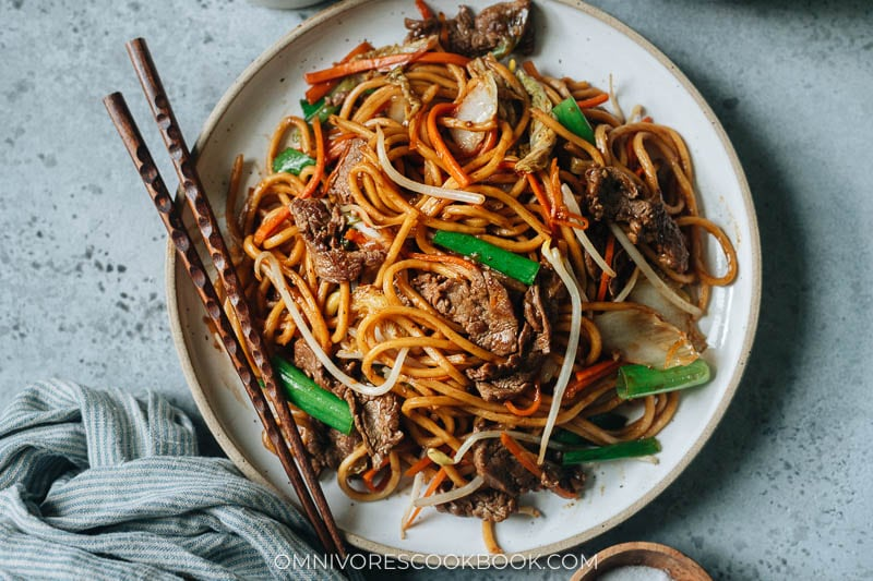 Easy Chinese beef fried noodles horizontal photo