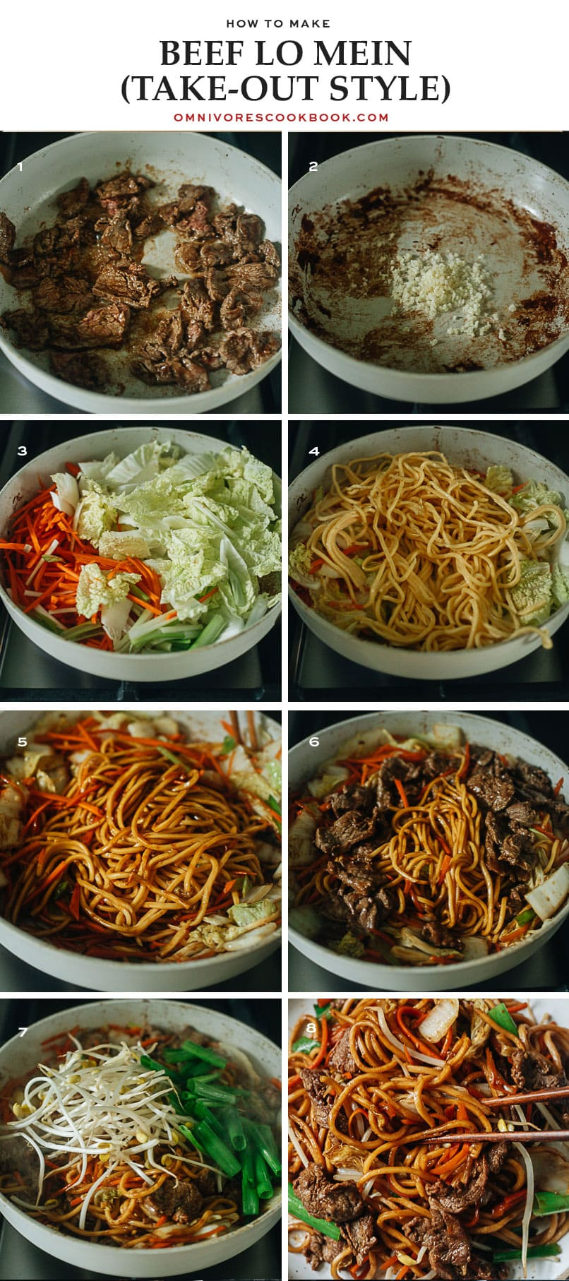 Step-by-step process of making quick beef lo mein