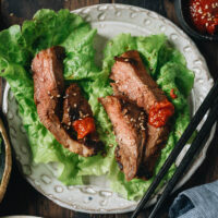 My galbi marinated steak recipe gives you the super succulent and juicy, slightly sweet beauty of the Korean BBQ classic in a format you can cook with a grill or skillet, and it's even great with the more affordable cuts!