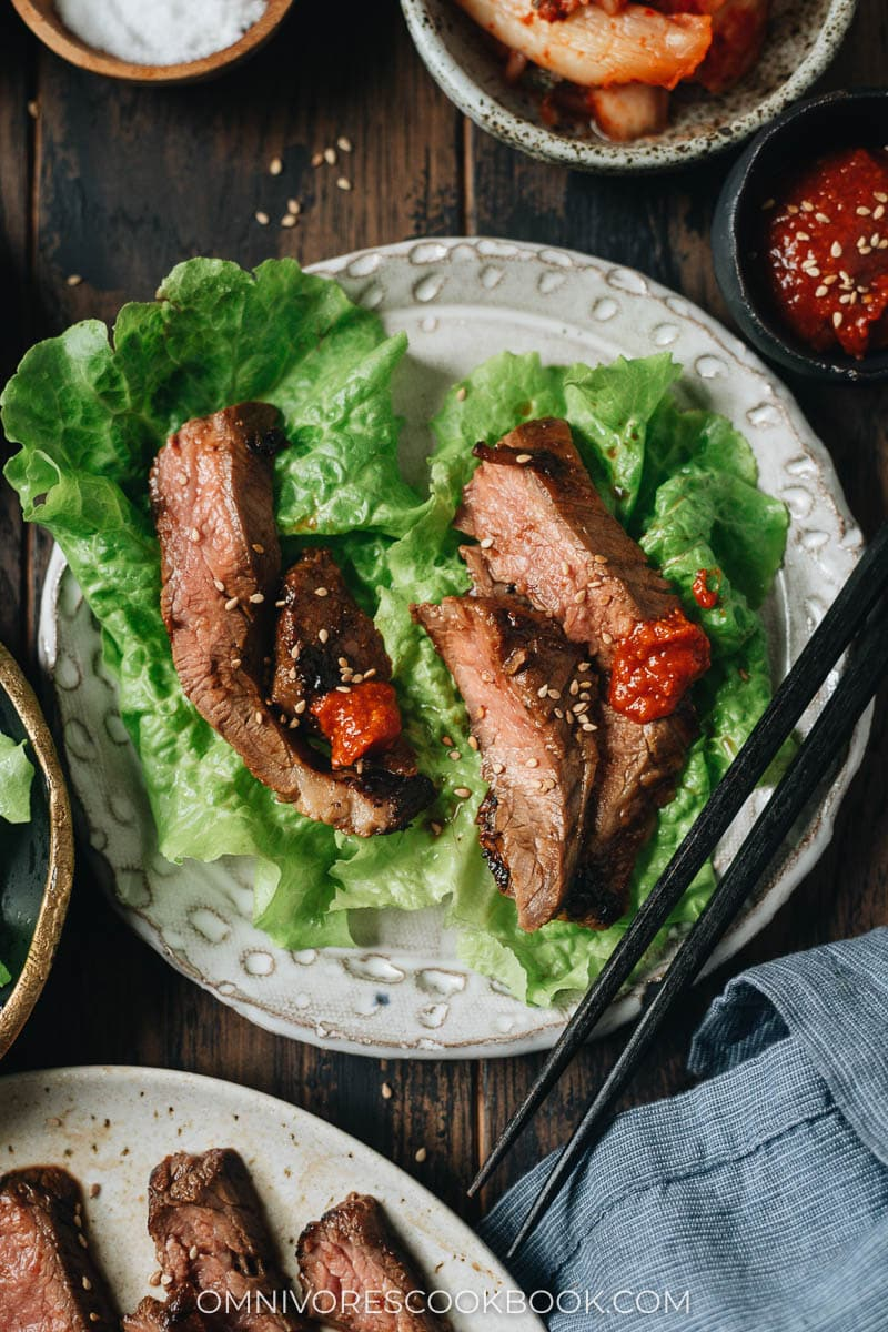 Succulent marinated Korean steak in a lettuce wrap with spicy sauce