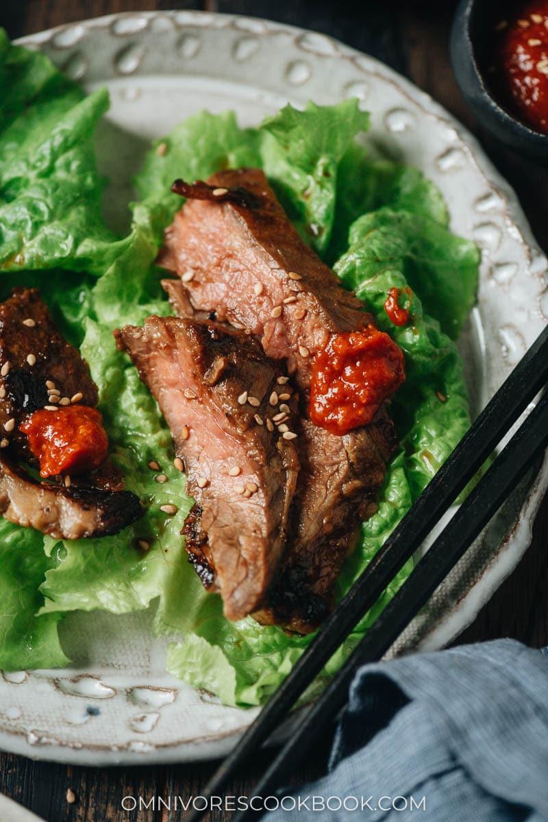 Close-up of galbi marinated steak lettuce wrap