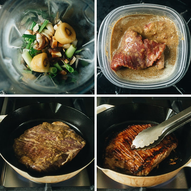Cooking process for galbi marinated steak