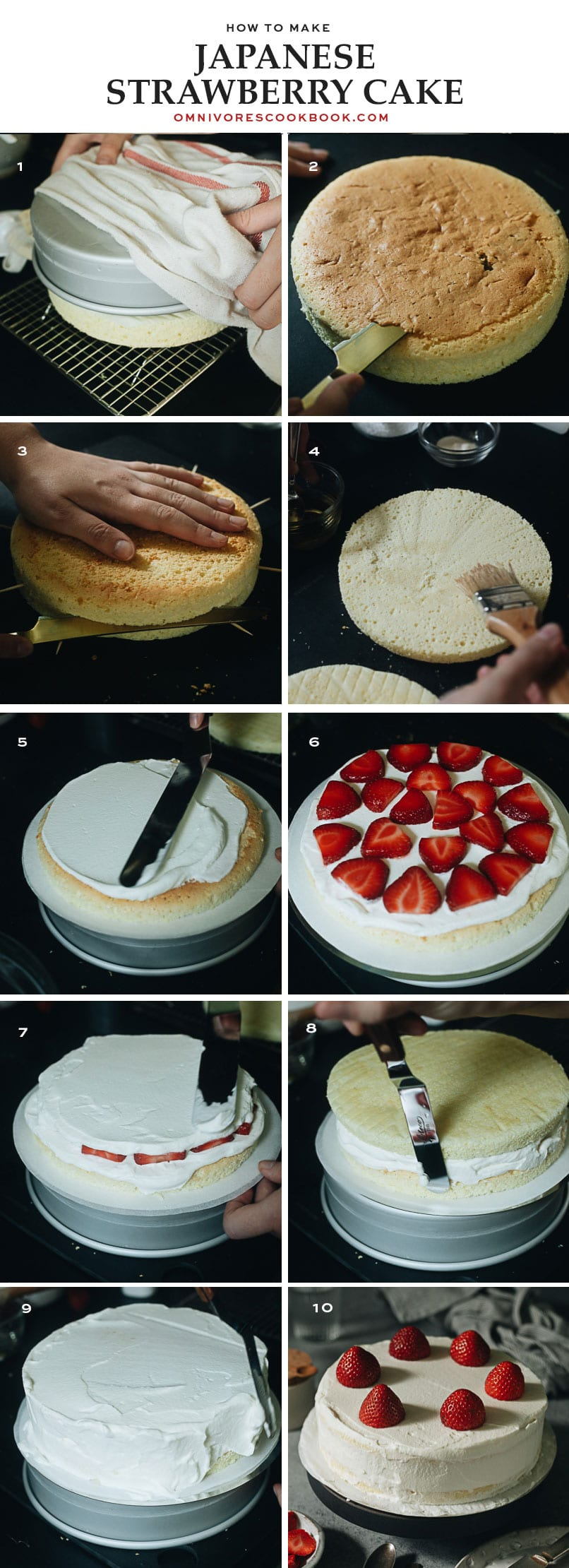 How to assemble the Japanese strawberry cake