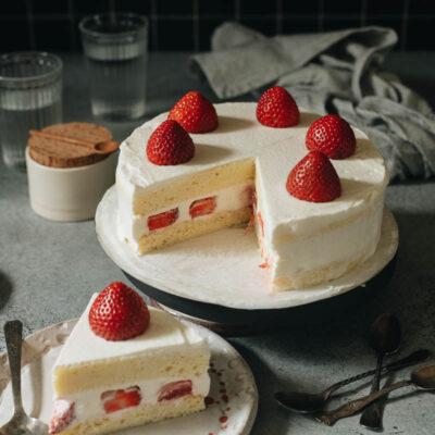 Creamy fluffy Asian style strawberry cake