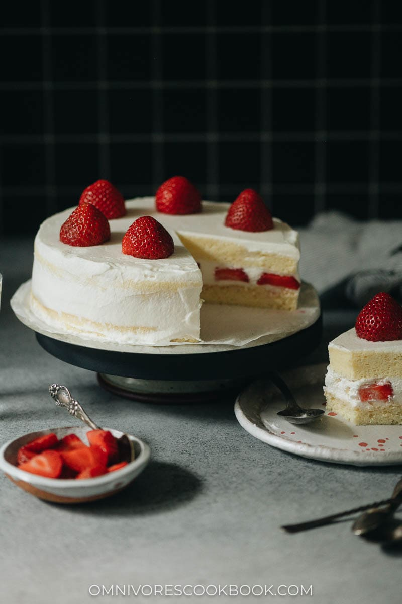 Delicate and fluffy Japanese-style strawberry cream cake