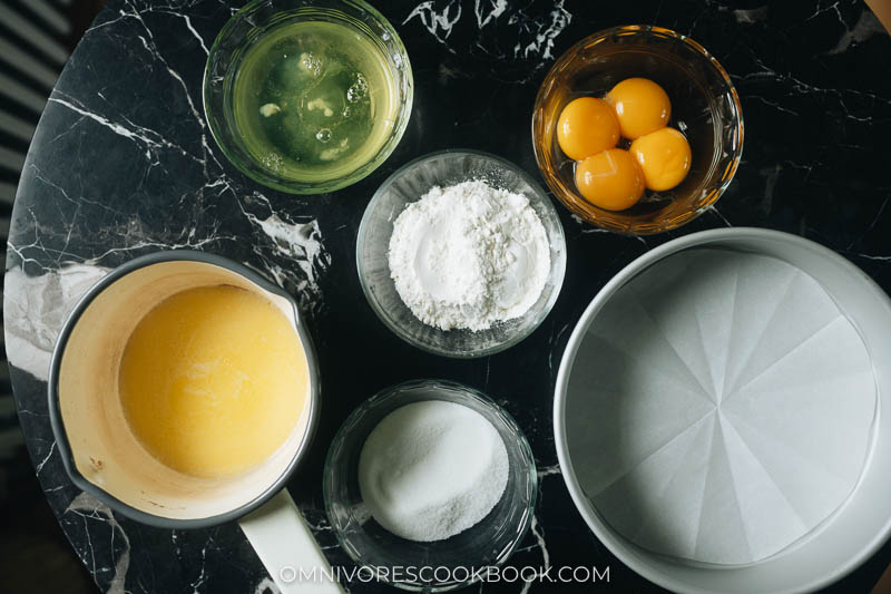 Mise-en-place for Japanese style fluffy cake