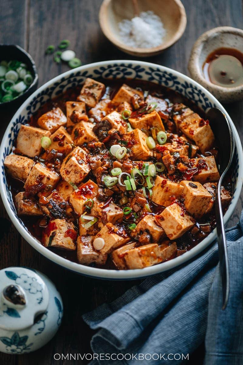 Vegetarian mapo tofu in a bowl