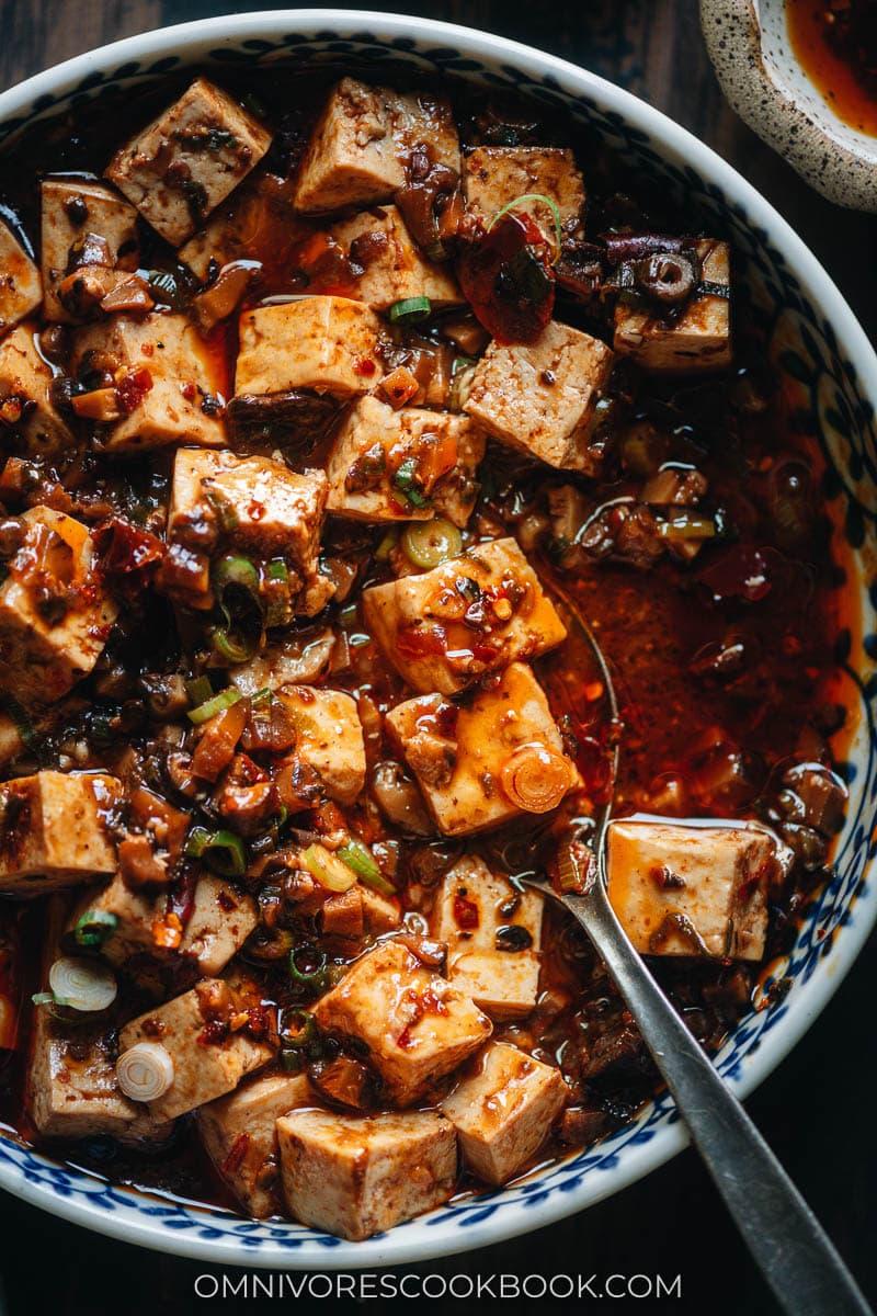 Close-up of vegan mapo tofu