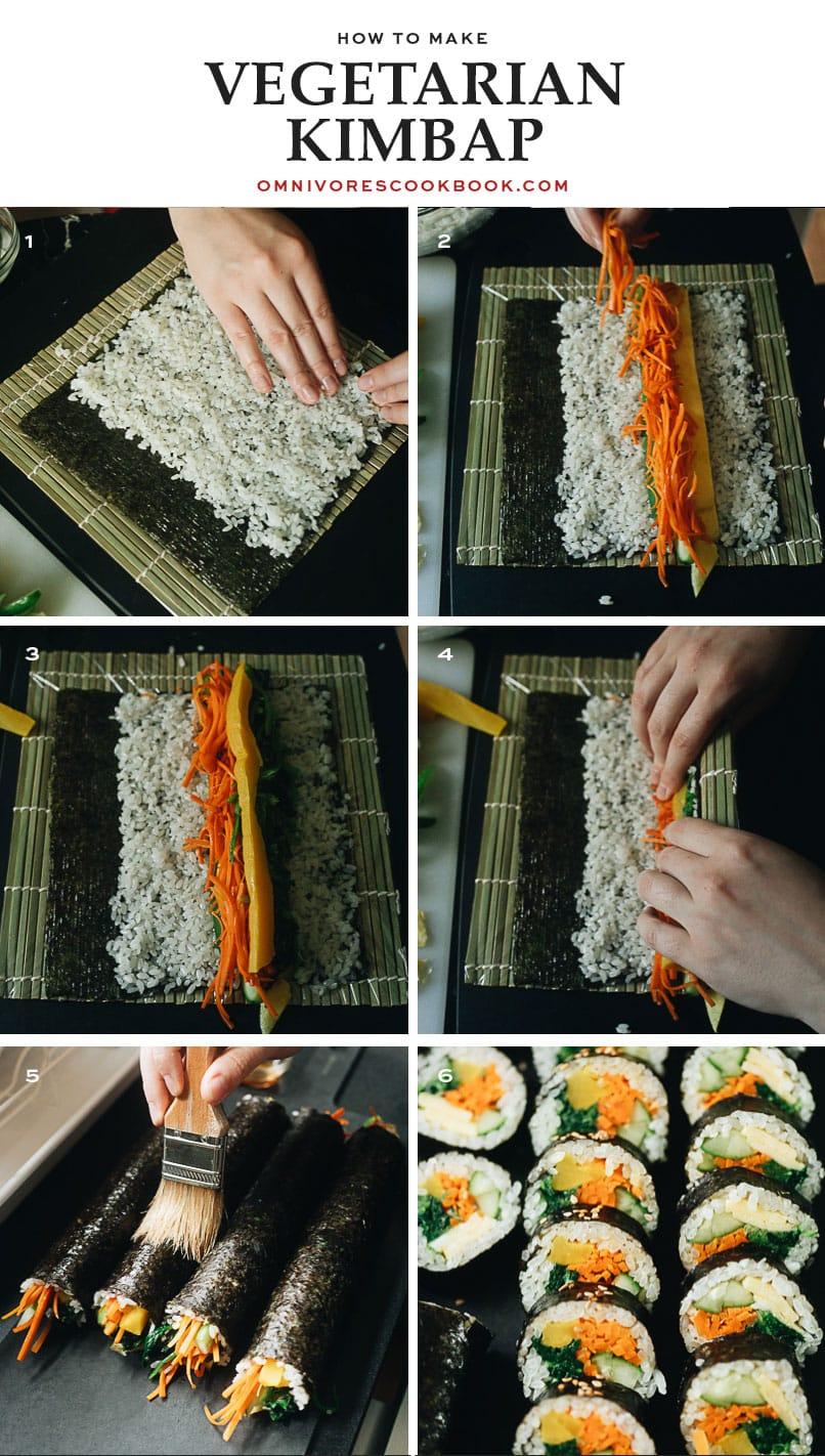 Rolling process (how to make) vegetarian kimbap