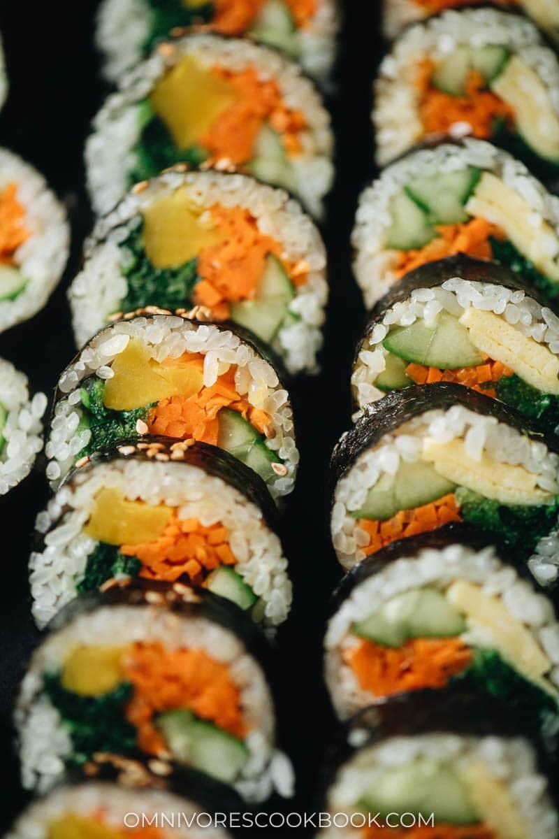 Close up of Korean vegetarian kimbap