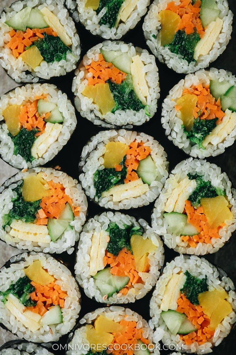 Colorful Korean vegetarian seaweed rolls from above