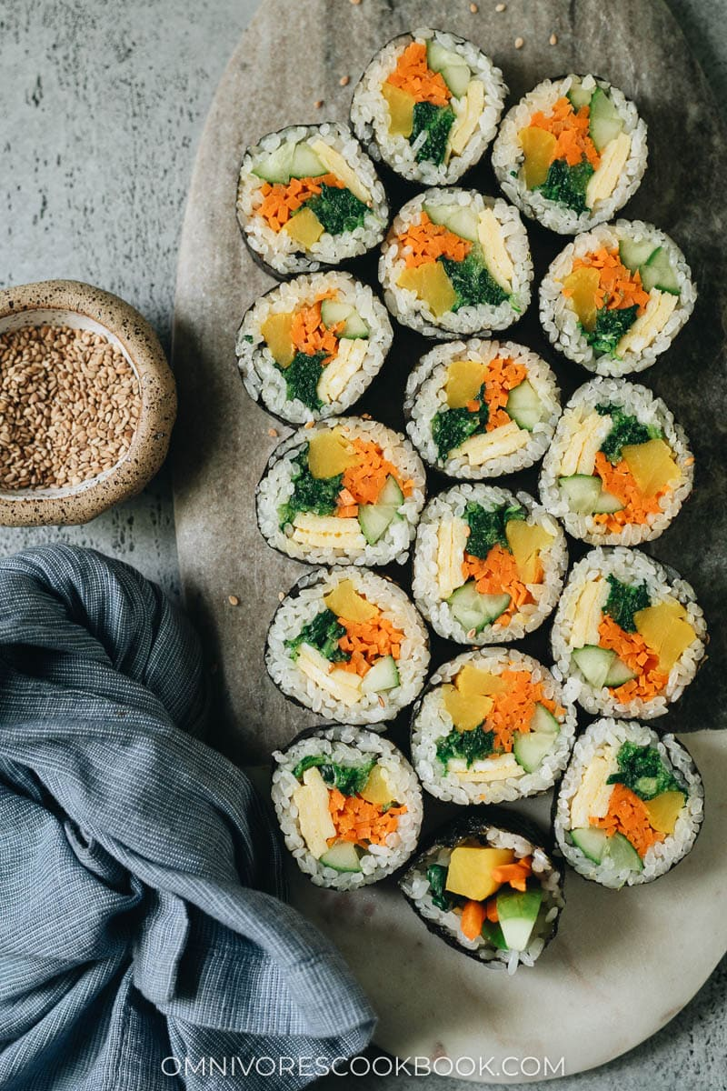 Vegetarian kimbap cut up on a plate for appetizer