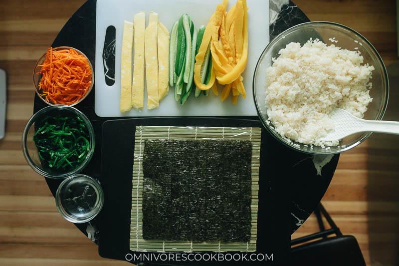 Mise-en-place for vegetarian kimbap