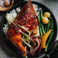 Honey-Soy Glazed Chicken is roasted until super juicy and tender in foil and then broiled with a glaze to give you a beautifully caramelized sweet-savory chicken dinner. And you can broil some veggies along with the chicken to create a colorful and balanced meal!