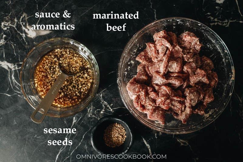 Mise-en-place for Chinese marinated aromatic beef