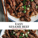 Super juicy and flavorful, you've got to make sesame beef tonight! It's made with less oil than at a Chinese restaurant, so you can savor the flavor in a healthier way! {Gluten-Free Adaptable}