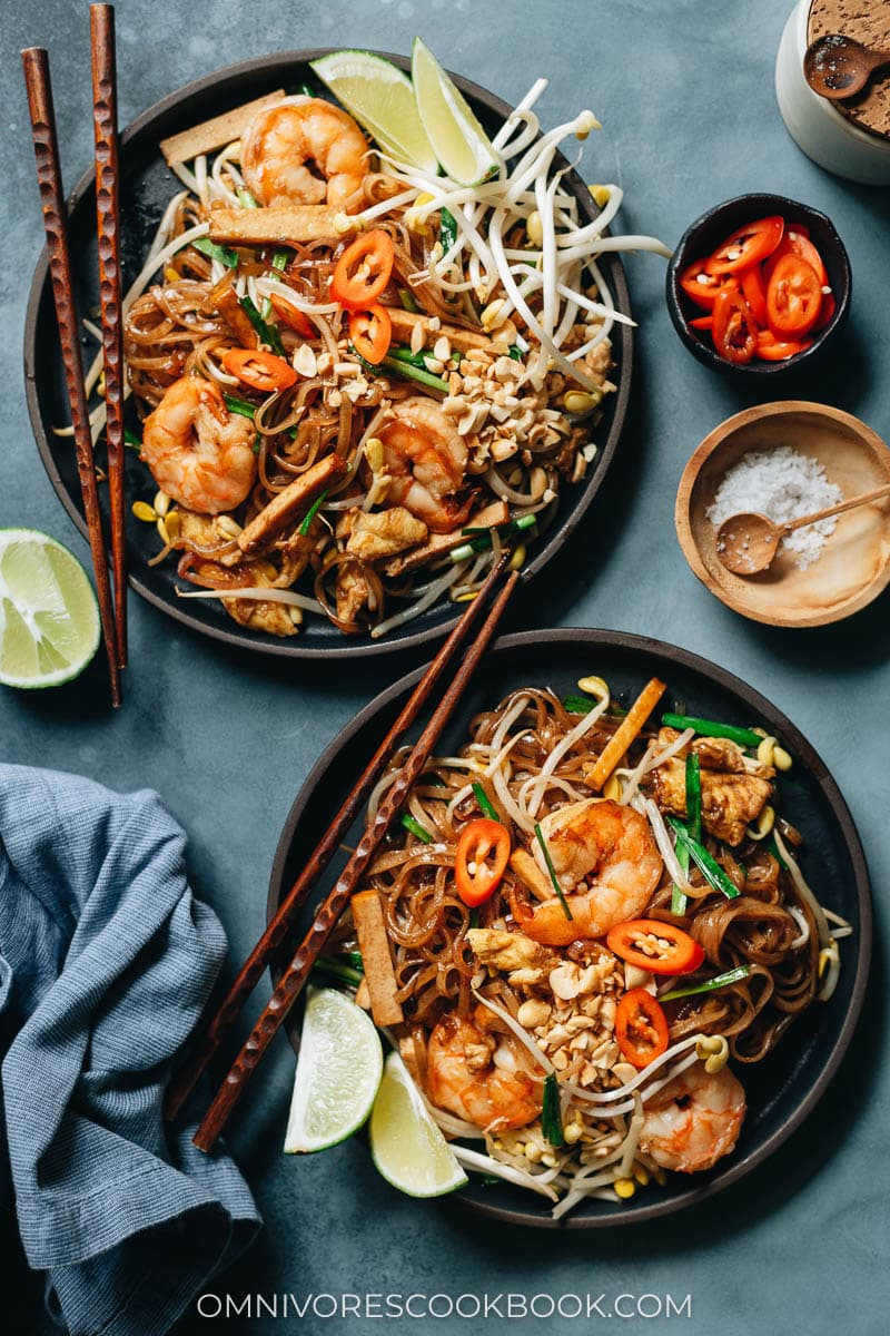 Fast easy shrimp pad thai with huge flavor