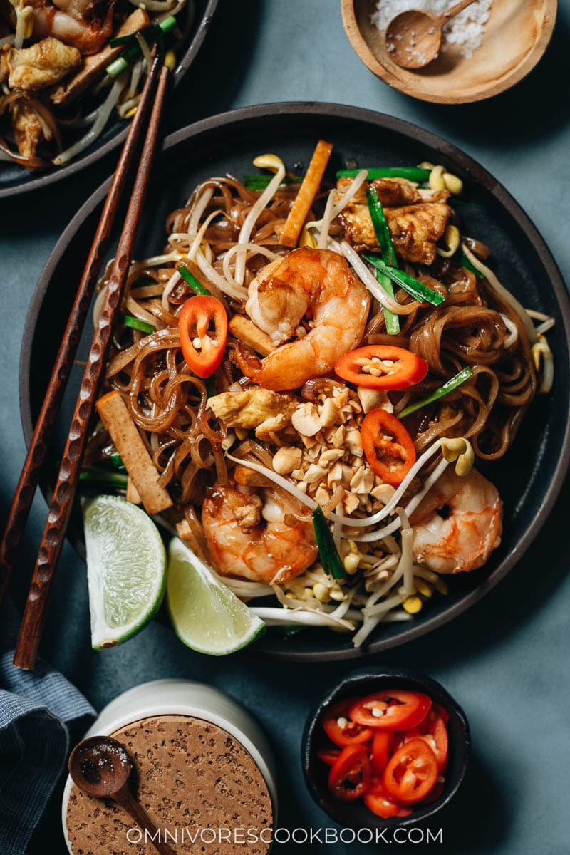 Takeout style shrimp fried rice noodles with egg and veggies