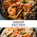 Make this fresh and rich shrimp pad thai in your own kitchen using this super fast and easy recipe that highlights the vibrant flavor of the ingredients. These chewy rice noodles are cooked in a tangy sauce that's slightly sweet, and loaded with goodies that add fun texture. {Gluten-Free}